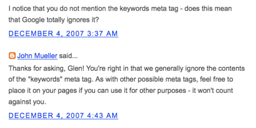 Official Google blog on Meta-Tags