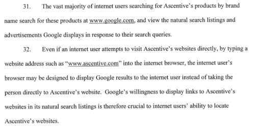 Paragraph 31-32 Ascentive, LLC v. Google, Inc.