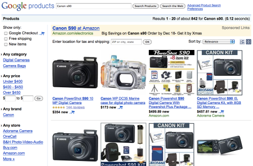 """classic"" Google Product Search screenshot"